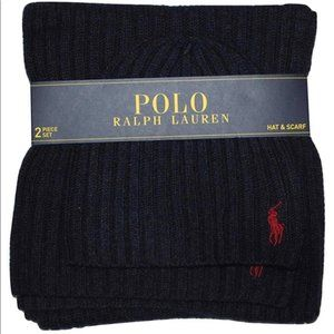 Polo Ralph Lauren Beanie Hat & Scarf Set Navy Blue